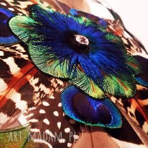 ozdoby do włosów pióra fascynator z piór - kolorowe