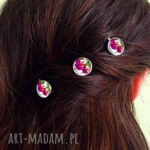 hand-made ozdoby do włosów fuksja - 3 wsuwki