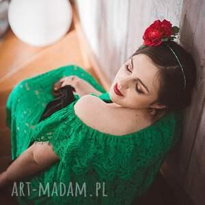 zielone ozdoby do włosów opaska fuksjowa róża