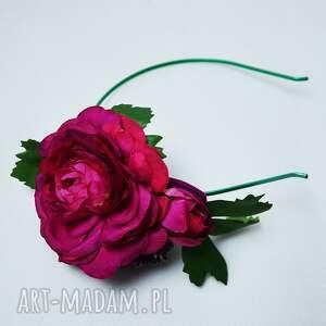 handmade ozdoby do włosów opaska fuksjowa róża