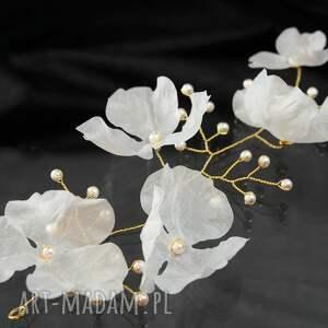 ozdoby do włosów ślub gałązka z kwiatami