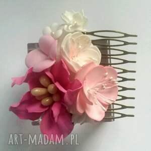 różowe ozdoby do włosów boho grzebyk kwiatowy ślubny sesja