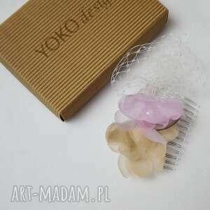 różowe ozdoby do włosów pastele grzebyk pastelowy