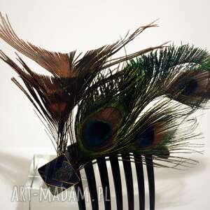 wyjątkowe ozdoby do włosów pawie grzebyk - pawie szaleństwo