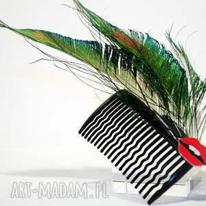 Blanka Atelier ozdoby do włosów pawie grzebyk - usta