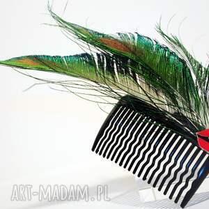Blanka Atelier zielone ozdoby do włosów pióra grzebyk - pawie usta