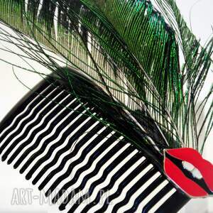 pawie ozdoby do włosów czerwone grzebyk wykonany ręcznie z naturalnych piór