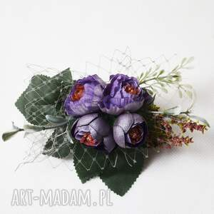 zielone ozdoby do włosów wiosna grzebyk wykonany ręcznie z kwiatów w kolorze