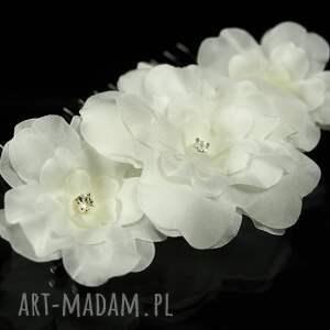 ciekawe ozdoba grzebyk z jedwabnymi kwiatami