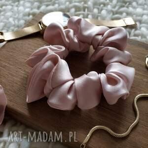 ręczne wykonanie ozdoby do włosów gumka jedwabna jasny róż