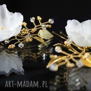 ozdoby do włosów kryształ jedwab w złotej oprawie