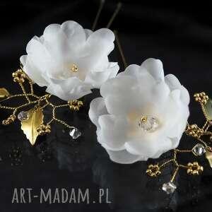 handmade ozdoby do włosów kryształ jedwab w złotej oprawie