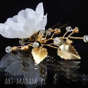 kryształ ozdoby do włosów jedwab w złotej oprawie