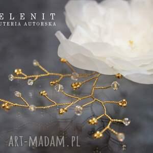 handmade ozdoby do włosów swarovski jedwabny kwiat