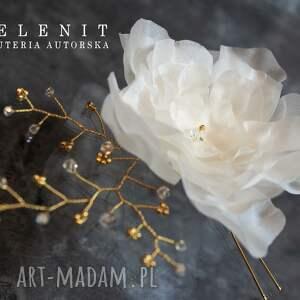 handmade ozdoby do włosów ślub jedwabny kwiat