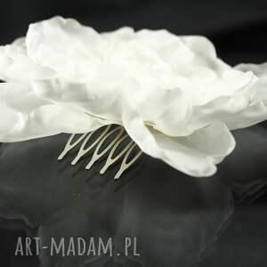 niesztampowe ozdoby do włosów swarovski jedwabny kwiat z perłą
