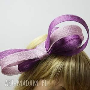 fioletowe ozdoby do włosów kokarda dwukolorowa