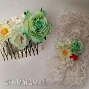 różowe ozdoby do włosów ślub komplet grzebyk i opaska dla mamy