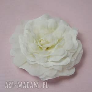 handmade ozdoby do włosów jedwab kwiat ecru