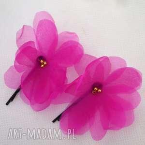 różowe ozdoby do włosów kwiat fuksja