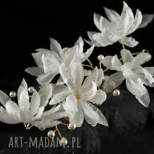 niesztampowe ozdoby do włosów perły kwitnąca gałązka