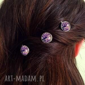 unikalne ozdoby do włosów ślubne lawenda - 3 wsuwki