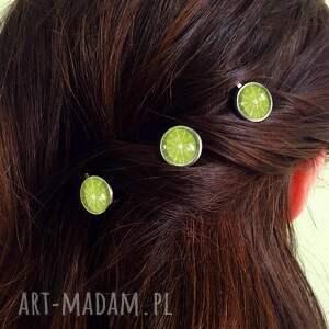 autorskie ozdoby do włosów limonka - 3 wsuwki