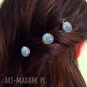 hand-made ozdoby do włosów niezapominajki - 3 wsuwki