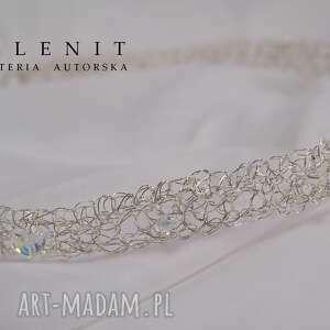 srebrne ozdoby do włosów opaska butterfly
