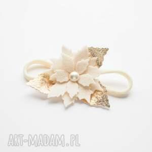 Momilio Art prezent świątecznyOpaska do włosów z kwiatuszkiem poinsecja opaska