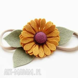 ozdoby do włosów filc opaska jesienny kwiat