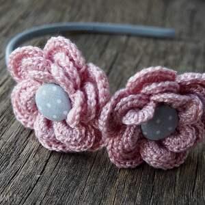 różowe ozdoby do włosów opaska szydełkowe