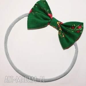hand made ozdoby do włosów bezuciskowa opaska lady z kokardką - zielony