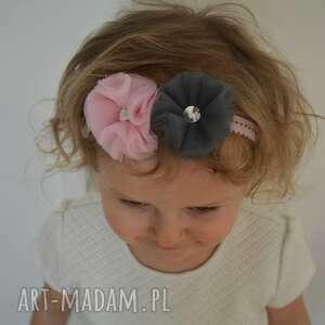szare ozdoby do włosów opaska na gumce dla dziewczynki