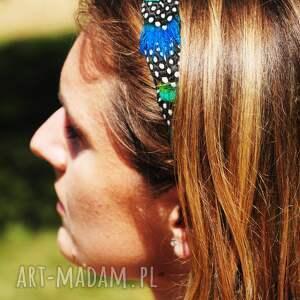 pawie ozdoby do włosów kolorowe opaska z naturalnych piór,,magia