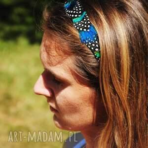 ozdoby do włosów kropki opaska z naturalnych piór,,magia