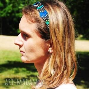 kropki ozdoby do włosów opaska z naturalnych piór,,magia