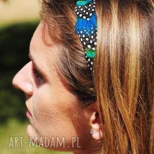 turkusowe ozdoby do włosów pióra opaska z naturalnych piór - magia