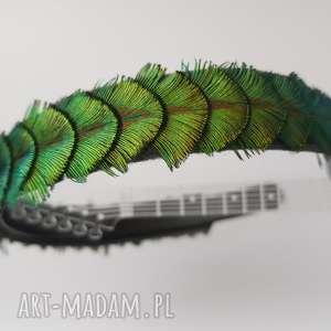 handmade ozdoby do włosów opaska z pawich piór w kolorach