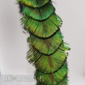 turkusowe ozdoby do włosów boho opaska z pawich piór w kolorach