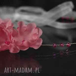 różowe ozdoby do włosów swarovski opaska z różowymi