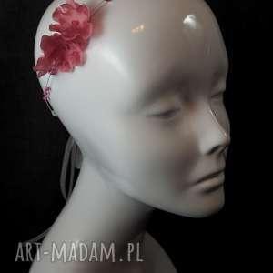 ozdoby do włosów: Opaska z różowymi kwiatami - kwiat ozdoba
