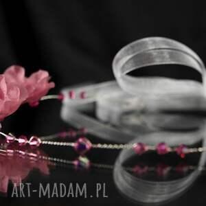 ozdoby do włosów jedwab opaska z różowymi