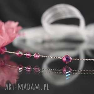ozdoby do włosów swarovski opaska z różowymi
