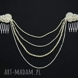 srebrne ozdoby do włosów soutache ozdoba reniro ivory