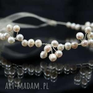 ręczne wykonanie ozdoby do włosów ślub perłowo ozdoba