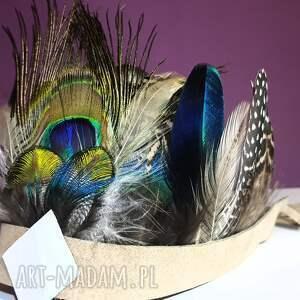 niebieskie ozdoby do włosów sesja pióropusz z naturalnych