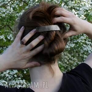 niepowtarzalne ozdoby do włosów plaster miodu - metalowa klamra