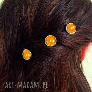 autorskie ozdoby do włosów pomarańcz pomarańcze - 3 wsuwki