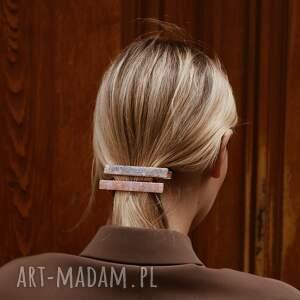 niepowtarzalne ozdoby do włosów spinka prostokątna z beżowej